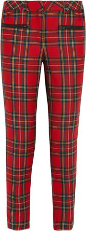 387137_Karl Lagerfeld - Wool Tartan Pants with leather side panels