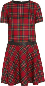 387139_Karl Lagerfeld - Leather-trimmed tartan cotton dress