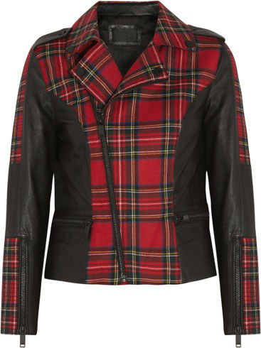 387145_Karl Lagerfeld - Vicious leather-trimmed tartan wool biker jacket